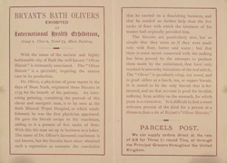Advert for Bryant's Bath Oliver Biscuits, reverse side